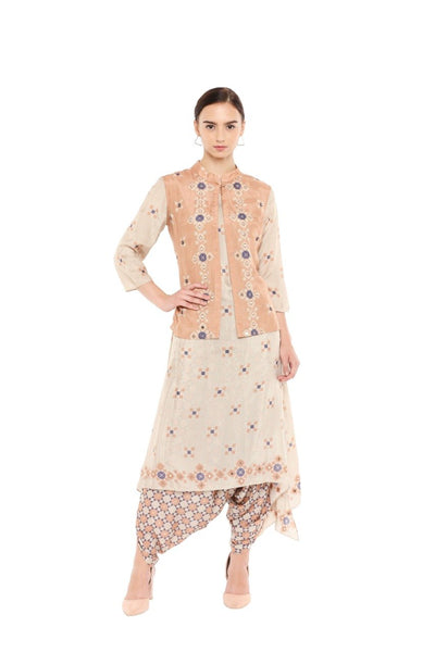 Beige & Peach Jacket & Dhoti Set