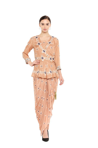 Peach Drape Dress & Jacket Set