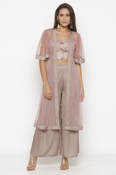 Mellow Rose Crop Top, Palazzo Pants & Jacket
