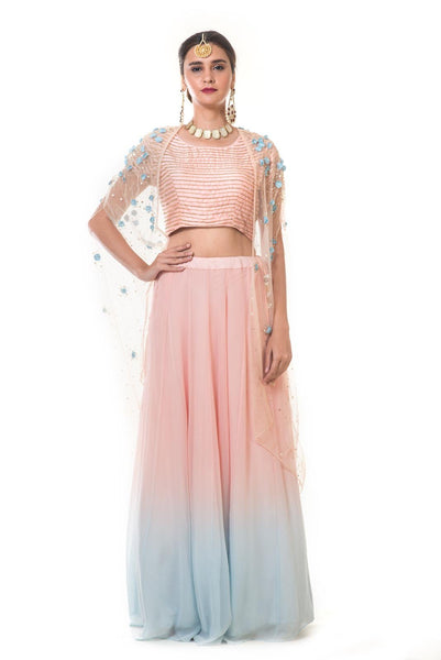 Hand Embroidered Cape with a Pink & Blue Shaded Lehenga & Blouse Set