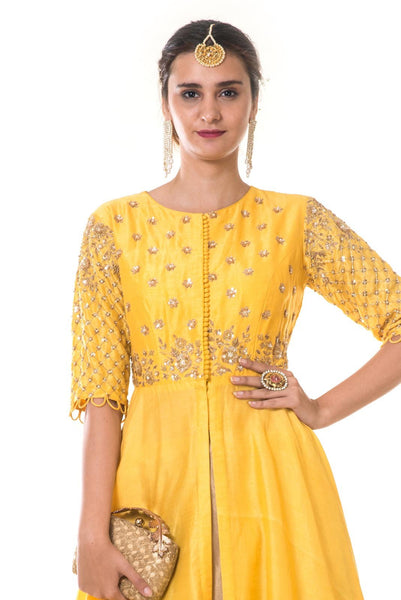 Yellow Heavy Embroidered Asymmetrical Long Blouse and Lehenga Set