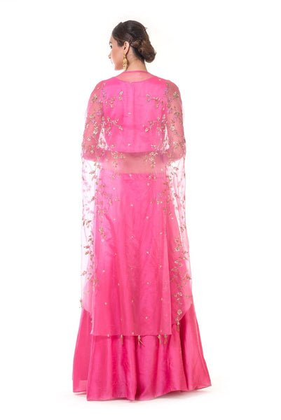 Fuchsia Pink Blouse & Lehenga Set with an Hand Embroidered Cape