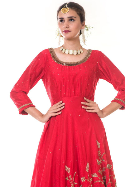 Red Asymmetrical Embroidered Top with a Beige Frill Skirt