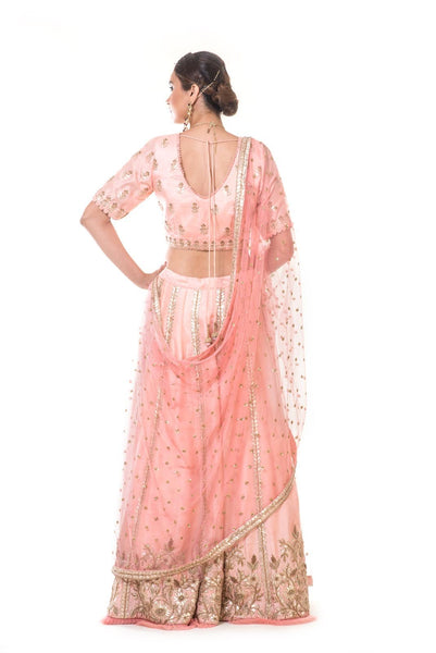 Peach Hand Embroidered Lehenga Set with a Dupatta
