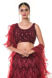 Maroon Heavy Hand Embroidered Blouse & Layered Lehenga Set with a Frill Dupatta