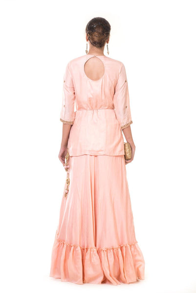 Peach Hand Embroidered Tasselled Kurta & Skirt with Frills