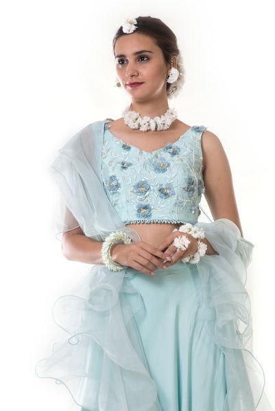 Sky Blue 3D Hand Embroidered Lehenga Set with Frill Dupatta