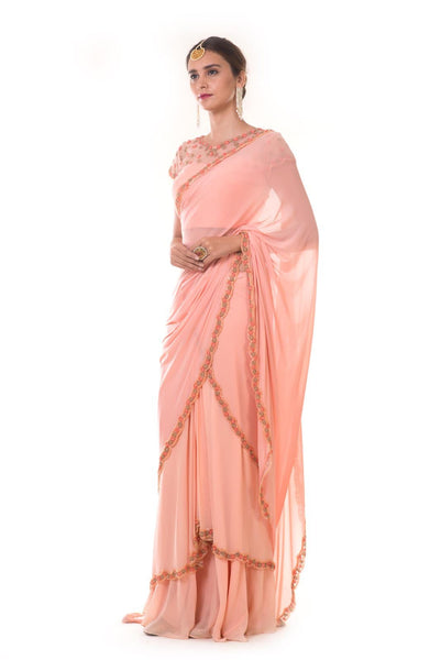 Hand Embroidered Peach Draped Saree Set