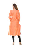 Hand Embroidered Orange Scallop Kurta