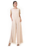 Cream Embroidered Sleeves Pleated Yoke Jumpsuit