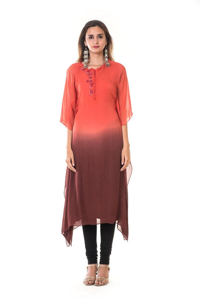 Hand Embroidered Red & Maroon Shaded Kaftan
