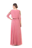 Onion Pink Hand Embroidered Drape Gown with Jacket
