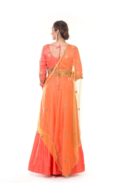 Hand Embroidered Orange  Kali Gown with Pleated Sleeves & Yellow Dupatta