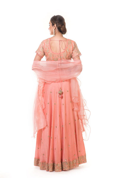 Peach Hand Embroidered Gown With a Frill Dupatta