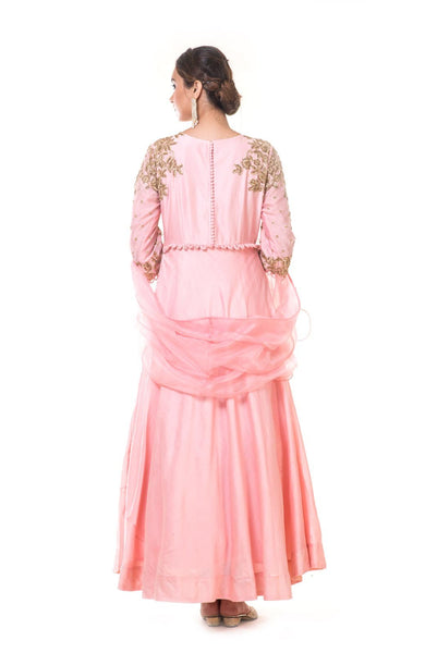 Pink Hand Embroidered Anarkali with A Frill Dupatta