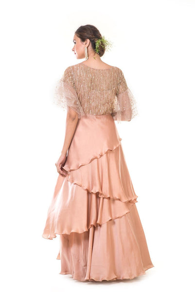 Hand Embroidered Rose Gold Ruffle Sleeve & Asymmetrical Layer Gown