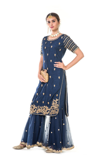 Royal Blue Hand Embroidered Kurta with Sharara Pants