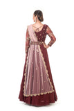 Maroon Hand Embroidered Anarkali with an Embroidered waist belt & Peach Dupatta
