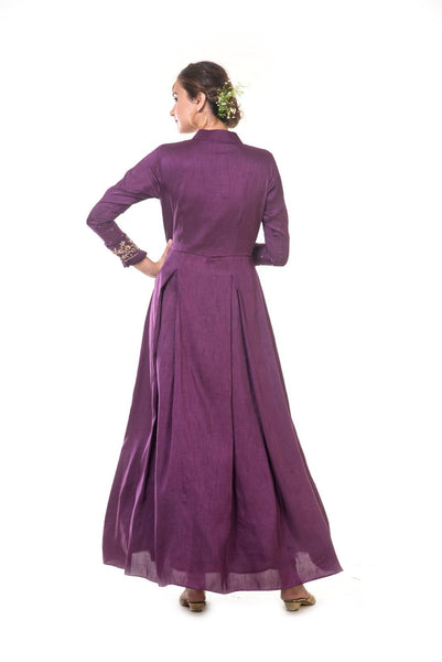 Dark Berry Hand Embroidered Box Pleated Gown