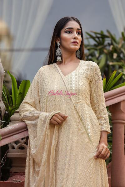 Off White Nisa Anarkali set