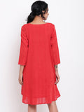 Red Dobby Flared Dress