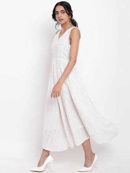 White Cotton Panelled Flare Dress