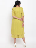 Green Cotton Angrakha Kurta Set
