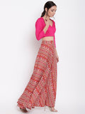 Printed Pink Skirt-Top Set