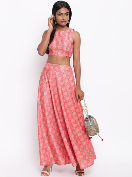 Pink Printed Skirt-Set