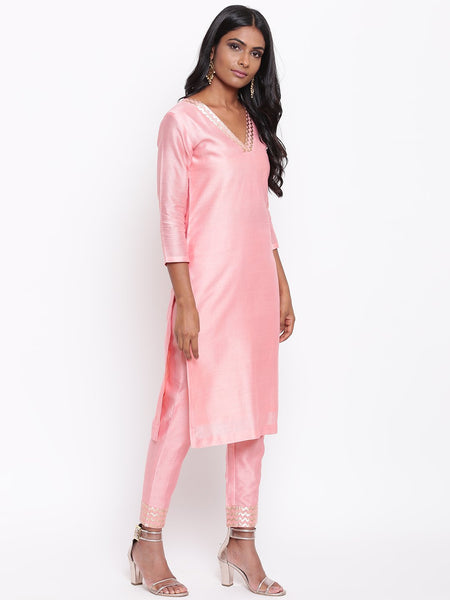 Pink Foil Neck Kurta Set