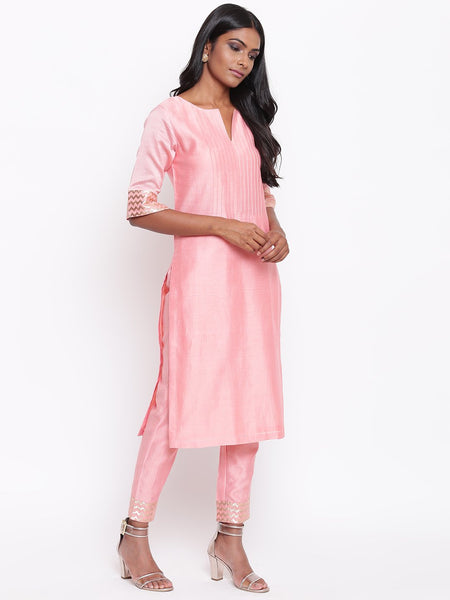 Pink Foil Pin-Tucks Kurta Set