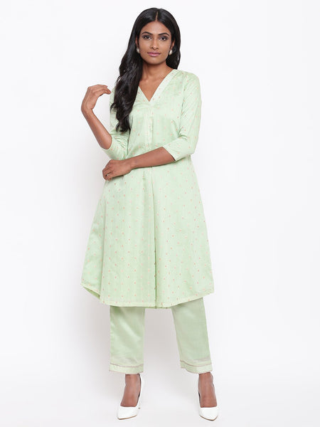 Green Booti Kurta Set