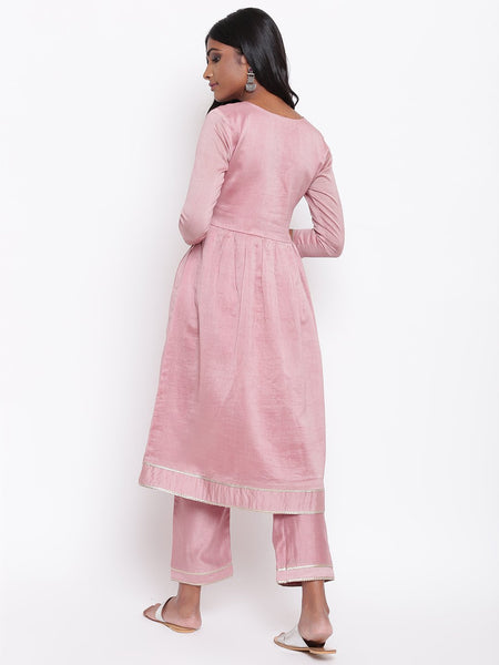 Pink Gota Gathered Kurta Set