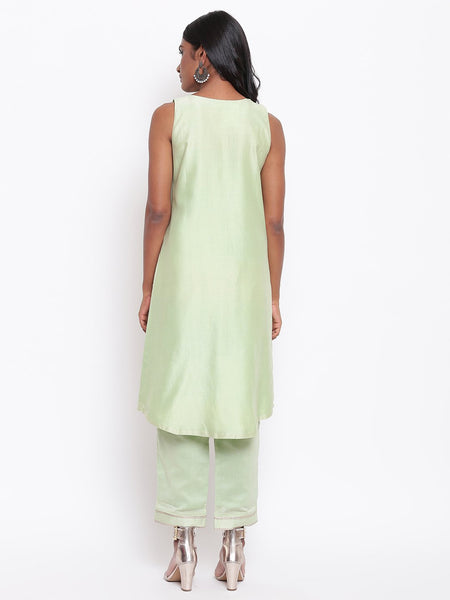 Green Gota Pleats Kurta Set
