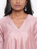 Pink Gota Flared Kurta Set
