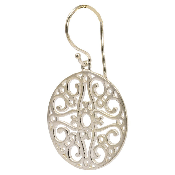 Round Silver Filigree Earring