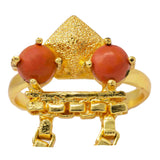 Coral Double Finger Ring
