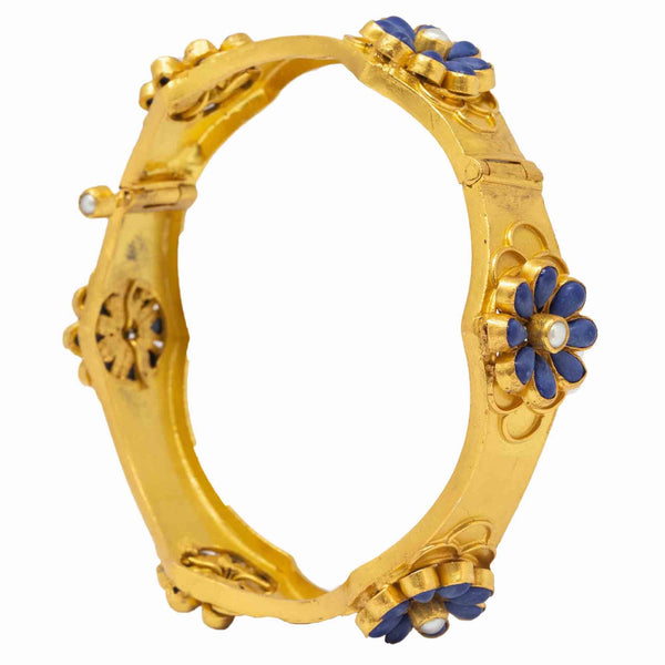 Silver Gold Plated Blue Flower Bangle