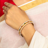 Silver gold plated pearl jadau bangle