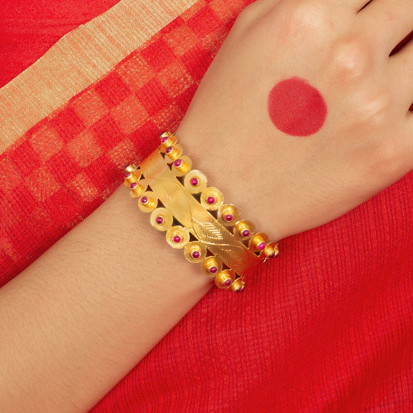 Silver Gold Plated Red Pota Bangles