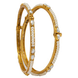 Silver Gold Plated Pearls Bangle