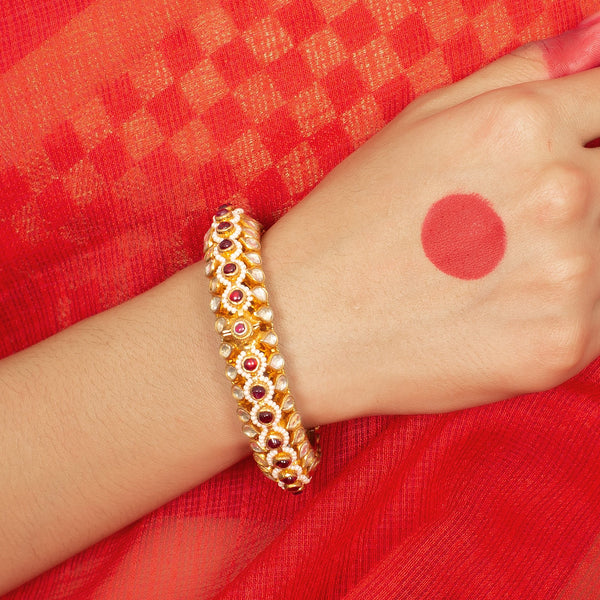 Silver gold plated jadau bangle