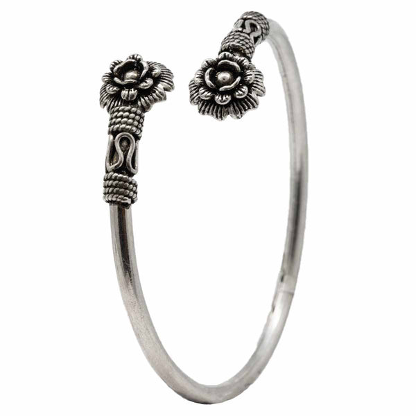 Silver Antique Flower Bangle