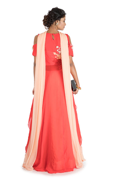 Anushree Agarwal Peach & Red Lehenga Set