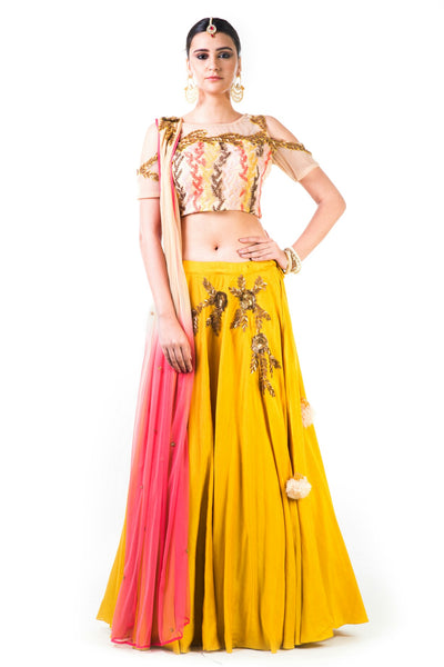 Anushree Agarwal Mustard Yellow Lehenga Set