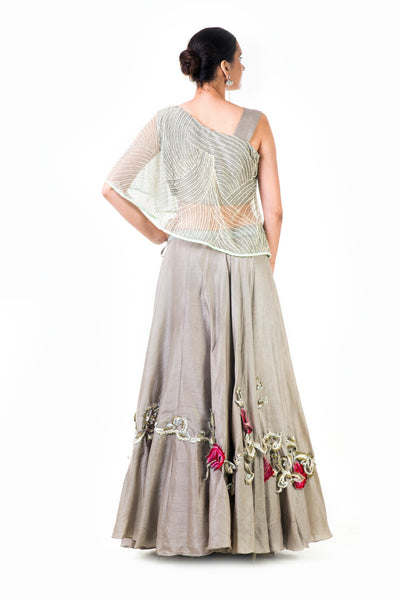 Anushree Agarwal One Shoulder Cape Style Lehenga Set