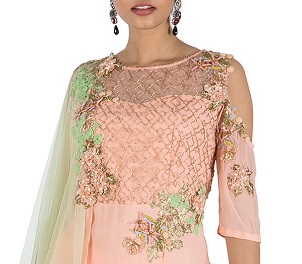 Anushree Agarwal Peach And Green Sharara Set