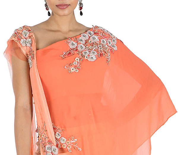 Anushree Agarwal Salmon Cape Top With Skirt