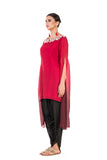 Anushree Agarwal Red and Wine Tunic with Dhoti Pants