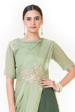 Anushree Agarwal Green Draped Top with Palazzo Pants